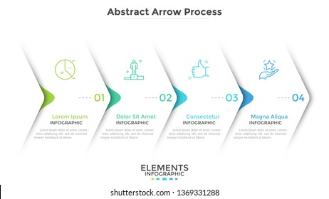 Four paper white overlapping arrows placed in horizontal row. Concept of 4 successive steps of progressive business development. Simple infographic design template. Abstract vector illustration.