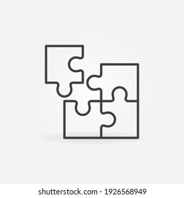 Four parts Puzzle vector concept icon or symbol in thin line style