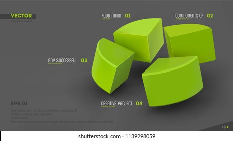 Four parts of whole. Teamwork concept. Green sectors and labels on gray background. 3d vector infographic template. Eps10.