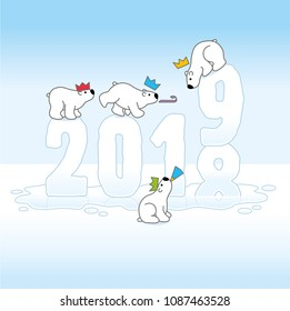 Four Partying Polar Bears Balancing on Melting New Year Changing from 2018 to 2019 with Reflections in an Ice Cold Puddle