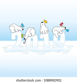 Four Partying Polar Bears Balancing on Melting Frozen New Year 2019 with Reflections in an Ice Cold Puddle