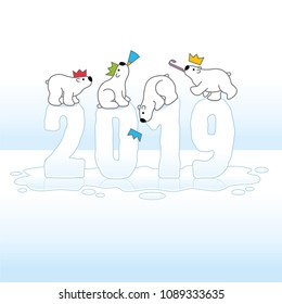 Four Partying Polar Bears Balancing on Melting New Year 2019 with Reflections in Ice Cold Puddle