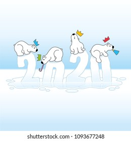 Four Partying Polar Bears wearing colorful paper Hats Balancing on Frozen New Year 2019 with Reflections Melting in an Ice Cold Puddle