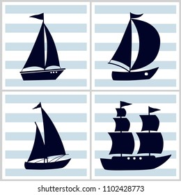 Four pattern with cartoon boats on blue and white striped background
