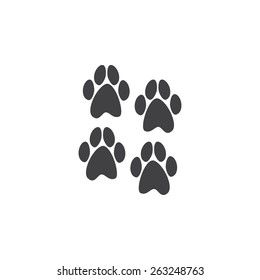 Four paws prints on it isolated on white background. Logo template, design element