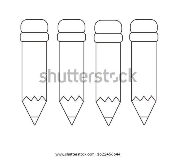 - Four Pencils Illustration Coloring Sheet Printable Stock Vector (Royalty  Free) 1622456644