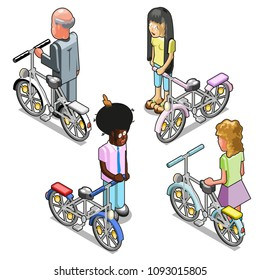 Four people with bicycles (isometric view)