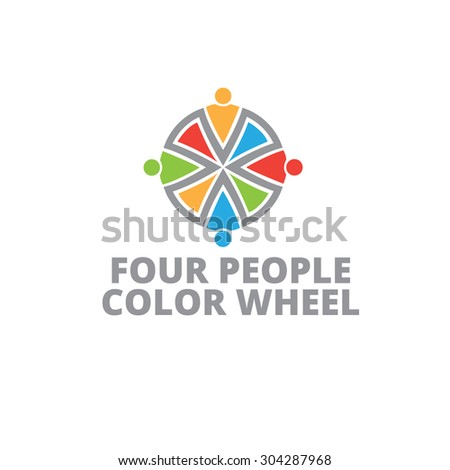 Four People Color Wheel Logo Template Stock Vector Royalty Free