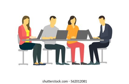 Four people at the desk. Strict but vivid style clothes. Business , office teamwork meeting talking.