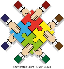 Four people hands putting puzzle 4 pieces. Teamwork business concept. Idea working together banner. Colaborative people design, vector puzzle illustration. Hand business man connecting puzzle elements
