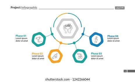 Four phases of money making template. Business data. Graph, chart, design. Creative concept for infographic, report. Can be used for topics like economics, finances, banking