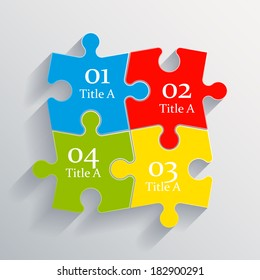 Four piece flat puzzle infographic presentation. 4 step circle business diagram. Four section compare service banner. Vector illustration template