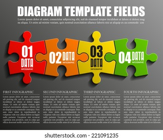 Four piece flat puzzle round infographic presentation. 4 step circle business diagram. Four section compare service banner. Vector illustration template shape . 3d Abstract Background