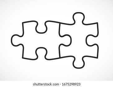 Four piece flat puzzle. Section compare service banner. Vector illustration
