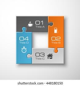 Four piece puzzle business presentation. Circle infograph. 4 step process diagram. Four section compare banner. Square schedule diagram