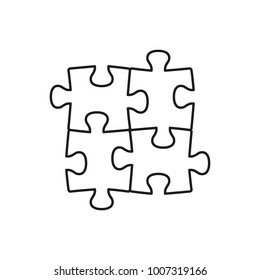 Four piece puzzle line illustrtion. Vector isolated puzzle elements.