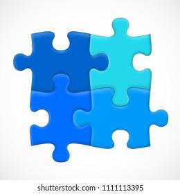 Four piece puzzle. Solution concept. Vector illustration
