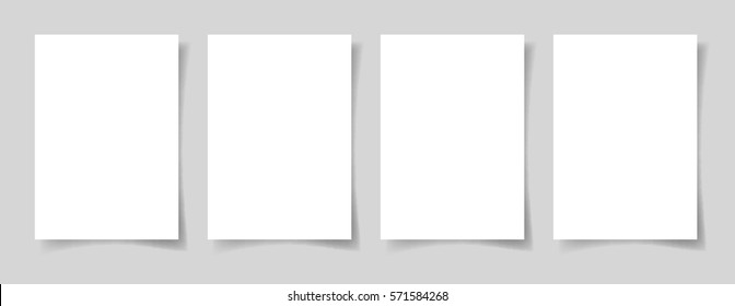 four pieces blank A4 sheet of white paper with the shadow for your design, vector illustration eps10