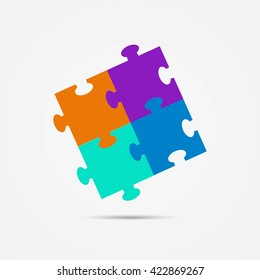 Four Pieces of Puzzle. Icon, or Logo Template, Vector EPS10