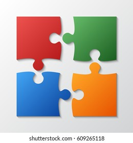 Four pieces puzzle squares diagram. Squares business presentation infographic. 4 steps, parts, pieces of process diagram. Section compare banner. Jigsaw puzzle info graphic. Marketing strategy.