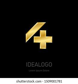 Four Plus - golden logo. Metallic 3d icon or logotype template. Vector design element. Number 4.