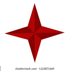 four point red star - icon vector