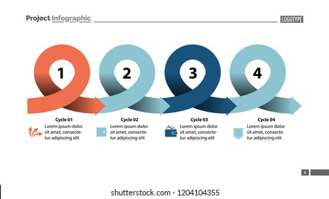 Four points process chart slide template. Business data. Scheme, step, design. Creative concept for infographic, presentation, report. Can be used for topics like marketing, planning, production.