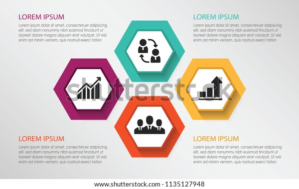 Four Points Process Chart Strategy Diagram Stock Vector (Royalty