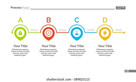 four points timeline slide template stock vector royalty free