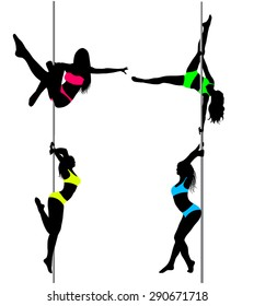 Four Pole dancers, sexy women's silhouettes in bright pink, yellow, green, light blue sport suits clothes. Isolated on white background. The vector illustration