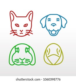 Four popular pets in outline style.
