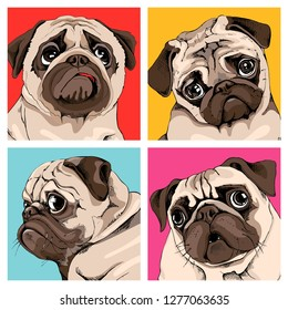 Four portrait of a pugs in a bright coloring Pop Art style. Humor card, t-shirt composition, hand drawn style print. Vector illustration.