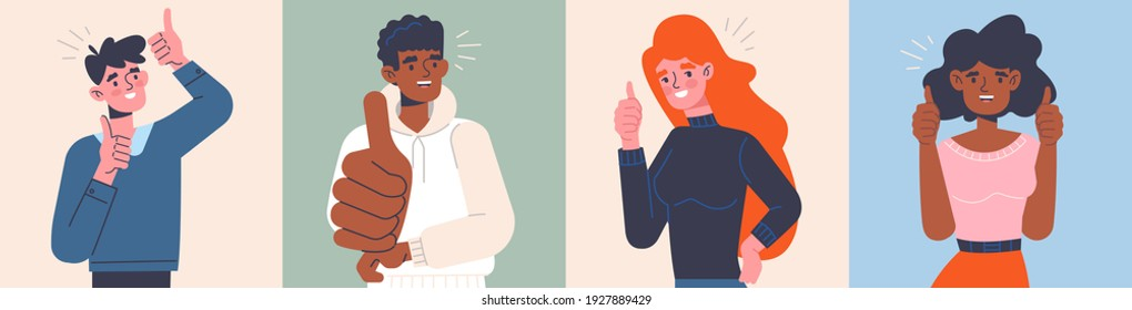 Four positive diverse multiracial successful people giving a thumbs up gesture or like sign showing their approval, set of flat cartoon colored vector illustrations