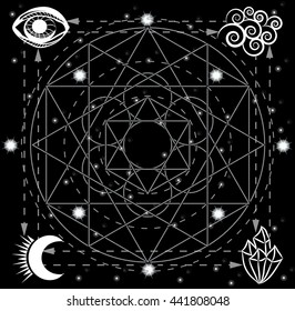 Four primal elements symbols on the sacred geometry background. Fire, water, air, earth.