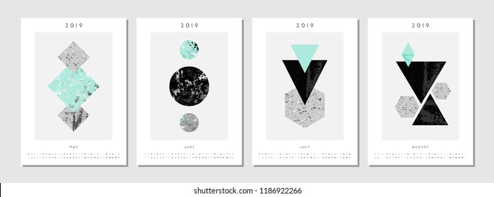 Four printable A4 size 2019 calendar templates for May, June, July and August. Abstract compositions with textured geometric shapes in black, gray and light blue. Minimalist and modern