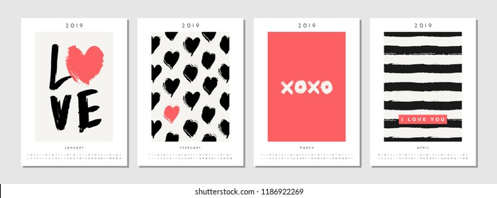 Four printable A4 size 2019 calendar templates for January, February, March and April. Hand drawn hearts, stripes, symbols and typographic design in black, white and red.