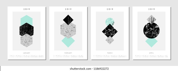 Four printable A4 size 2019 calendar templates for January, February, March and April. Abstract compositions with textured geometric shapes in black, gray and light blue. Minimalist and modern.