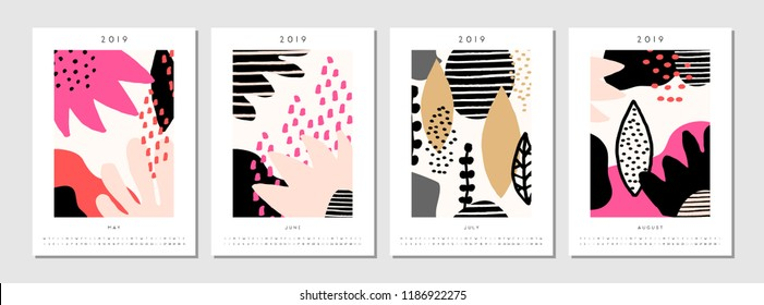 Four printable A4 size 2019 calendar templates for May, June, July and August. Abstract geometric and nature-inspired shapes in black, pastel pink, white and red.