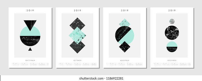 Four printable A4 size 2019 calendar templates for September, October, November and December. Abstract compositions with textured geometric shapes in black, gray and light blue. Minimalist and modern