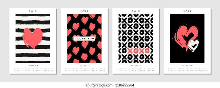 Four printable A4 size 2019 calendar templates for September, October, November and December. Hand drawn hearts, stripes, symbols and typographic design in black, white and red.