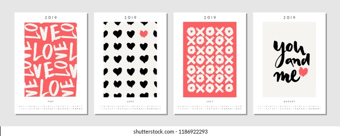Four printable A4 size 2019 calendar templates for May, June, July and August. Hand drawn hearts, symbols and typographic design in black, white and red.