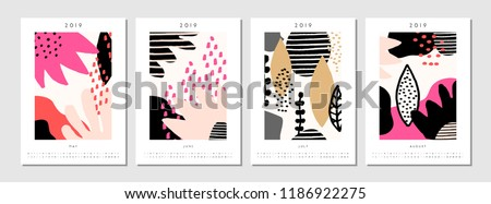 Four Printable A 4 Size 2019 Calendar Stock Vector Royalty Free