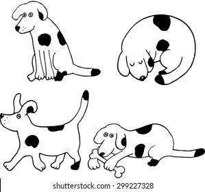Four puppies set. Hand drawn illustration.