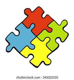 four puzzle pieces with four color / cartoon vector and illustration, hand drawn style, isolated on white background.