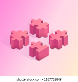Four puzzle pieces. Teamwork, cooperation and solution concept. Isometric vector illustration.