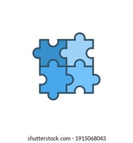 Four Puzzle Pieces vector concept blue icon or symbol