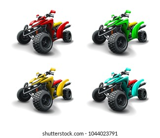 Four quad bikes in different colours.