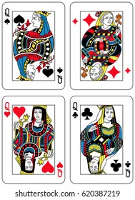Four Queens figures inspired by playing cards french tradition. All the figures are inside a playing card frame