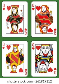 Four Queens of Hearts in four different styles on a green background