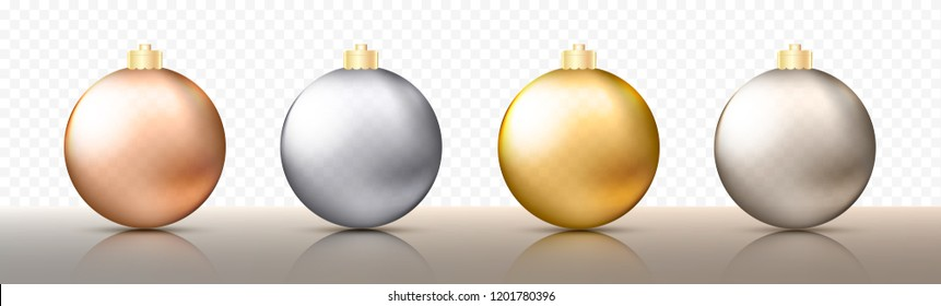 Four realistic Christmas transparent Baubles, spheres or balls in different shades of metallic gold and silver color with golden caps. Vector illustration eps10